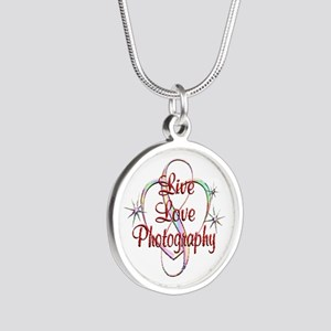 Live Love Photography Silver Round Necklace