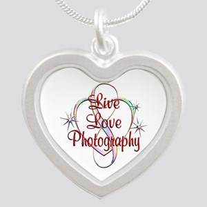 Live Love Photography Silver Heart Necklace