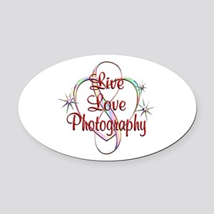 Live Love Photography Oval Car Magnet