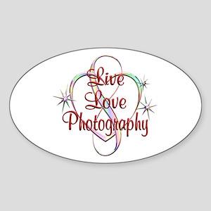 Live Love Photography Sticker (Oval)