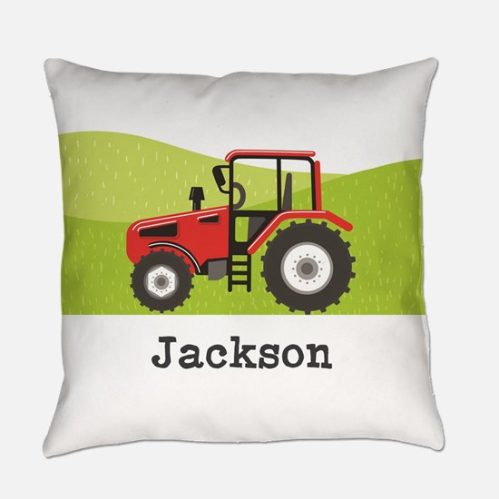 Personalized Red Tractor Everyday Pillow