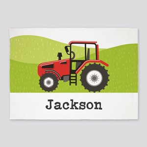 Personalized Red Tractor 5'x7'Area Rug