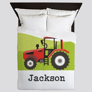 Personalized Red Tractor Queen Duvet