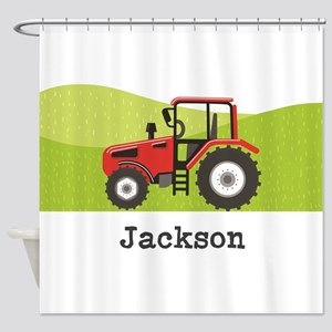 Personalized Red Tractor Shower Curtain