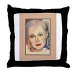Portrait of A Lady (border) Throw Pillow