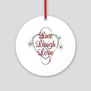 Live Laugh Love Round Ornament