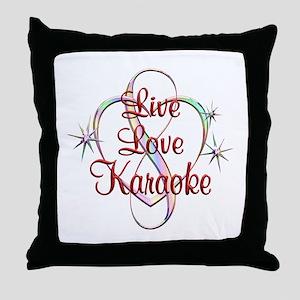 Live Love Karaoke Throw Pillow