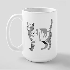 Grey Tabby Cat Large Mug