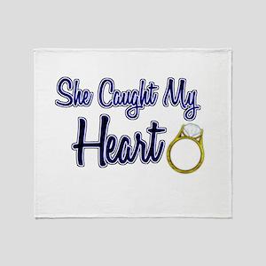 She Caught My Heart Throw Blanket