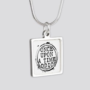 Once Upon a Time Addict Stamp Silver Square Neckla