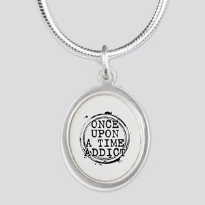 Once Upon a Time Addict Stamp Silver Oval Necklace