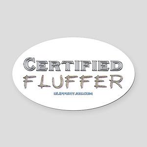 Fluffer-3 Oval Car Magnet