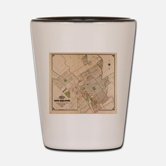 Vintage Map of San Jose California (188 Shot Glass
