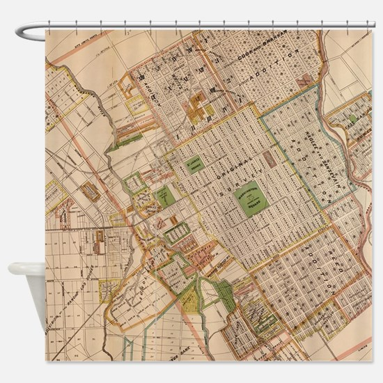 Vintage Map of San Jose California Shower Curtain