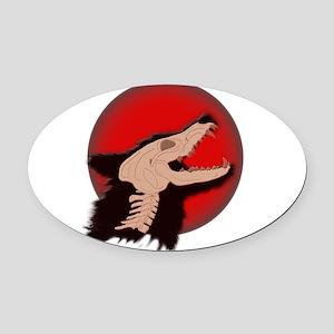 Blood Moon Werewolf Oval Car Magnet