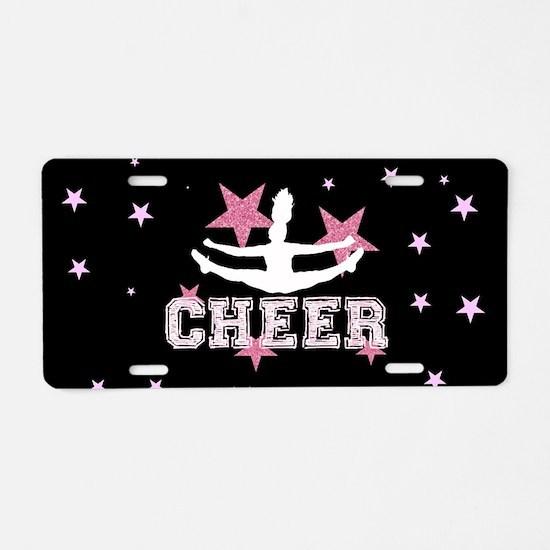 Pink and Black Cheerleader Aluminum License Plate