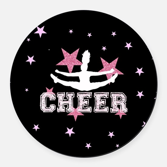 Pink and Black Cheerleader Round Car Magnet