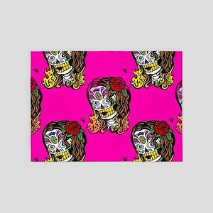 Sugar Skull Girl 5'x7'Area Rug