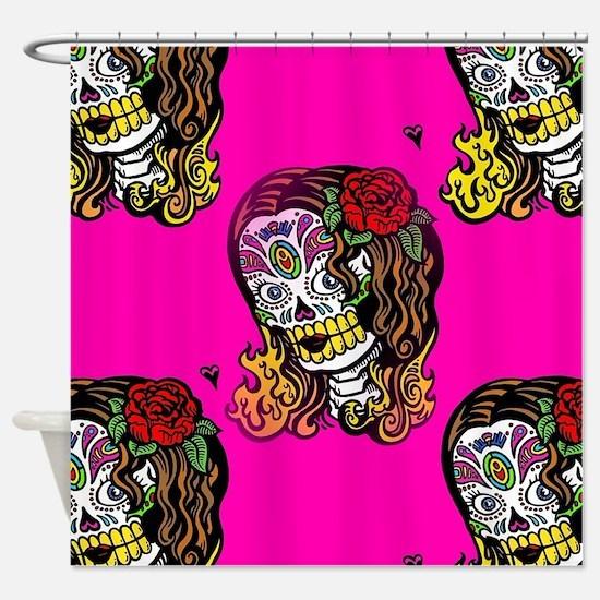 Sugar Skull Girl Shower Curtain