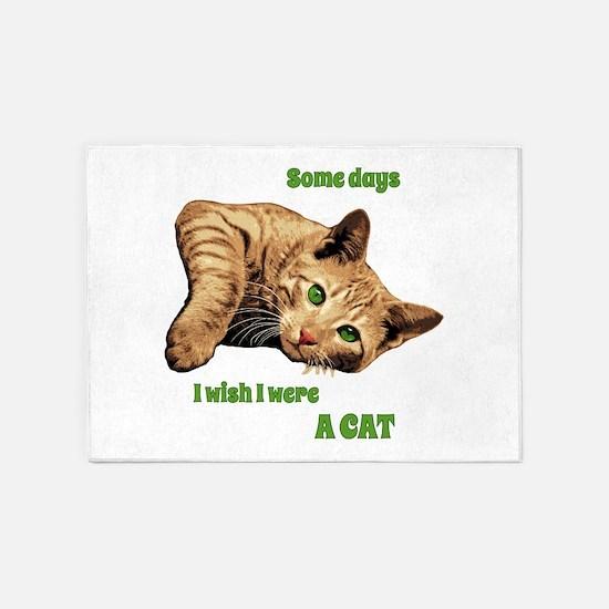 I Wish I Were a Cat - Orange Cat on 5'x7'Area Rug