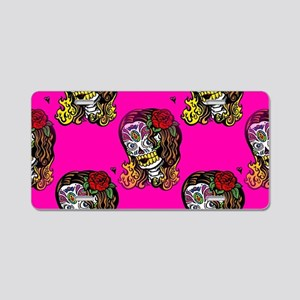 Sugar Skull Girl Aluminum License Plate