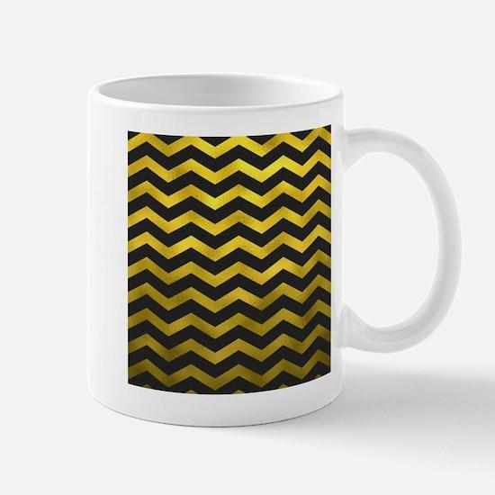 Faux Gold Foil Black Metallic Chevron Pattern Mugs