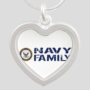 U.S. Navy: Navy Family (Blue Silver Heart Necklace