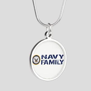 U.S. Navy: Navy Family (Blue Silver Round Necklace