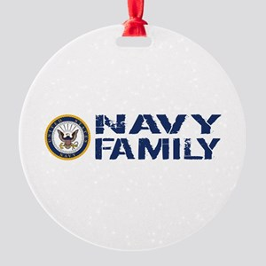 U.S. Navy: Navy Family (Blue & Whit Round Ornament
