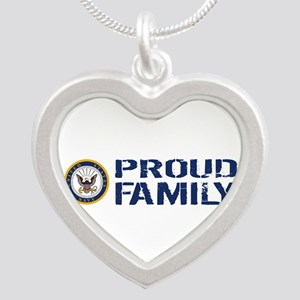 U.S. Navy: Proud Family (Blu Silver Heart Necklace