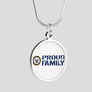 U.S. Navy: Proud Family (Blu Silver Round Necklace