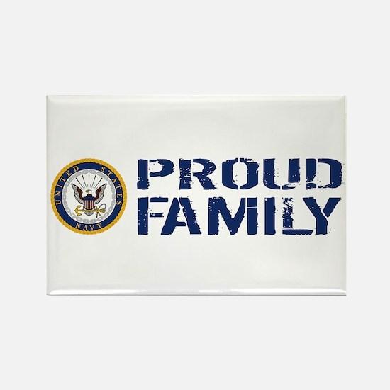 U.S. Navy: Proud Family (Blue & W Rectangle Magnet