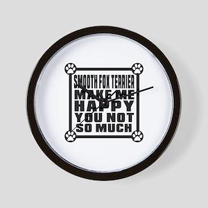 Smooth Fox Terrier Dog Make Me Happy Wall Clock