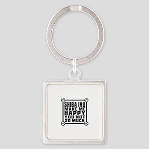 Shiba Inu Dog Make Me Happy Square Keychain