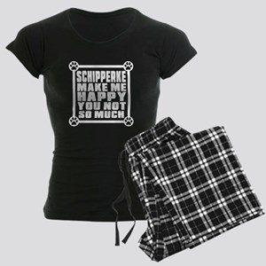 Schipperke Dog Make Me Happy Women's Dark Pajamas