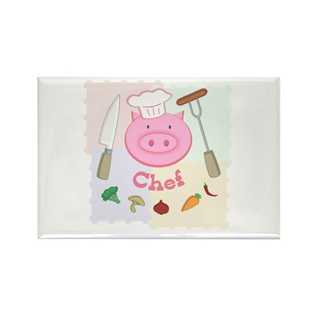 Pinky Chef Pig Rectangle Magnet (100 pack)