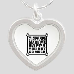 Miniature Schnauzer Dog Make Silver Heart Necklace