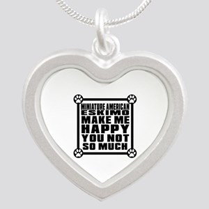 Miniature American Eskimo Do Silver Heart Necklace