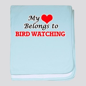 My heart belongs to Bird Watching baby blanket