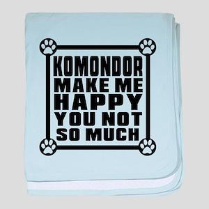 Komondor Dog Make Me Happy baby blanket