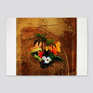 Summer design, toucan with palm and flowers 5'x7'A