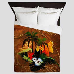 Summer design, toucan with palm and flowers Queen