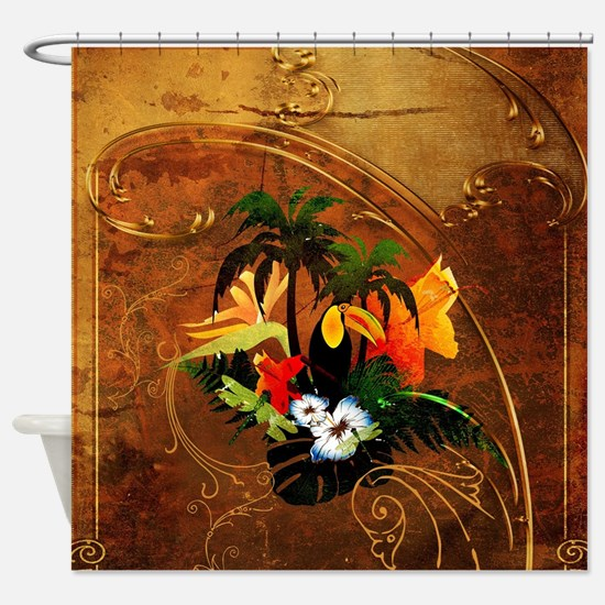 Summer design, toucan with palm and flowers Shower