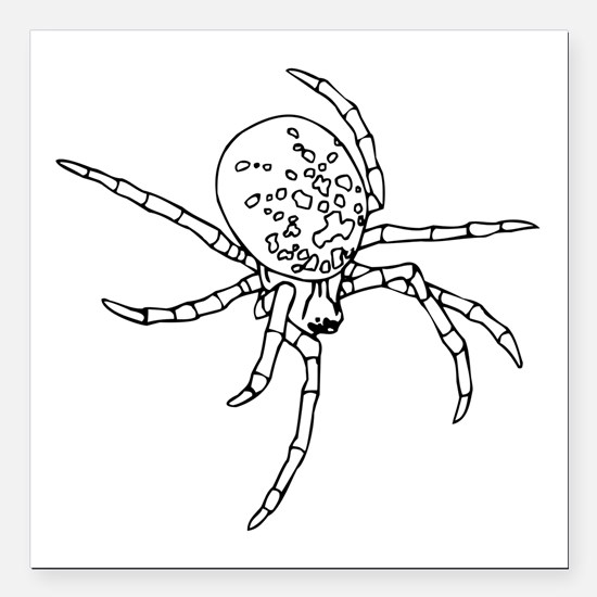 "Black Widow Spider Square Car Magnet 3"" x 3"""