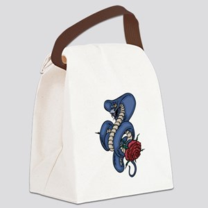 Cobra Snake With Rose Canvas Lunch Bag