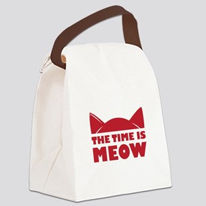 Time Is Meow Canvas Lunch Bag