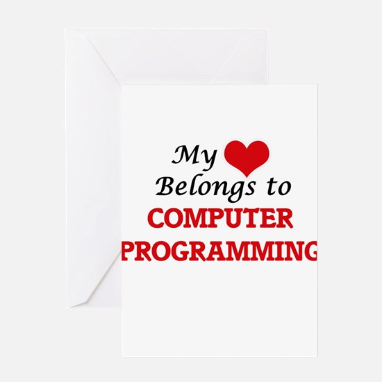 My heart belongs to Computer Progra Greeting Cards