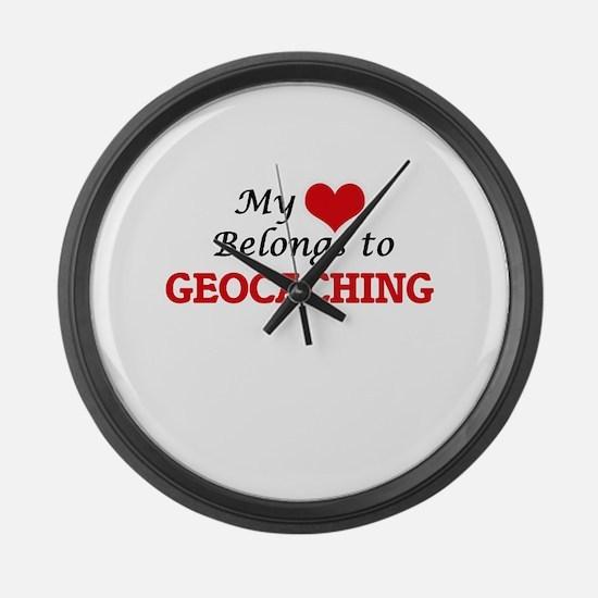 My heart belongs to Geocaching Large Wall Clock