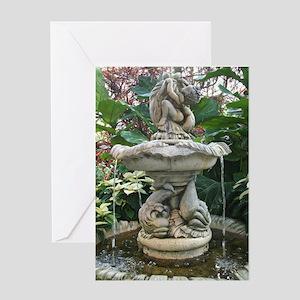 Garden Cherub Fountain Greeting Card
