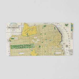 Vintage Map of San Francisc Aluminum License Plate